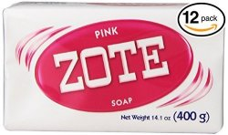 Pack Of 12 Bars Zote Pink Laundry Bar Soap With Even More Pinkning Power & Satin Remover. Light Fresh Scent Safe For Delicate Clothes