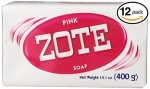 Pack Of 12 Bars Zote Pink Laundry Bar Soap With Even More Pinkning Power & Satin Remover. Light Fresh Scent Safe For Delicate Cl