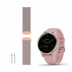 Leiou Woven Nylon Strap Compatible With Garmin Vivoactive 4S Bands Quick Release 18MM Also Works With Vivomove 3S Watch Band Sport Mesh Pink Sand