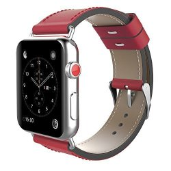 3d336cb1e4f Teepao For Apple Watch Band 38MM 42MM Retro Genuine Leather Strap  Replacement Band With Stainless Metal Slive Clasp For Iwatch A