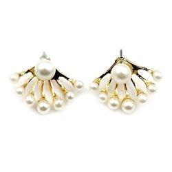 VANKER 1 Pair Unique Gold Plated Fan Shape Pearls Earrings Ear Studs Eardrop For Girls