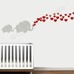 Decal The Walls Cutie Grey Elephants With Colored Bubble Hearts Vinyl Wall Decal Sticker Baby Nursery Play Room Red Hearts