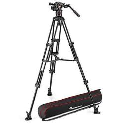 Manfrotto 608 Nitrotech Fluid Video Head With Aluminum Twin Leg Tripod And Ground Spreader 17.64 Lb Load Capacity