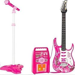 Pink YIFAN Kids Gitar with Microphone for Girls Boys Toy Karaoke Machine and Electric Guitar Set for Toddlers 3-5