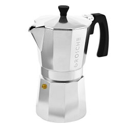 GROSCHE Milano Moka 6-CUP Stovetop Espresso Coffee Maker With Italian Safety Valve Silver