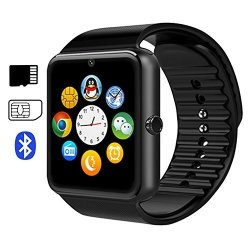 EiffelT Smart Watch GT08 Touch Screen Bluetooth Wristwatch With Camera sim Card Slot sleep Monitoring For Android Full Functions And Ios Partial Functions Black
