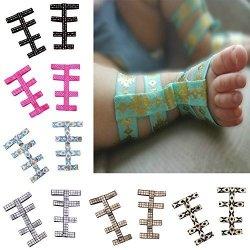 FEITONG 1PAIR Toddler Baby Girl Barefoot Foot Flower Gladiator Foot Decoration Yellow