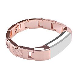 I-SMILE 3PCS Newest Colorful Replacement Wristband With Secure Clasps For Fitbit Alta Only No Tracker Replacement Bands Only Style 2 : Rose Gold