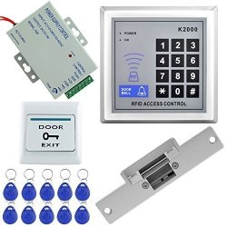 Key Cards for Home with Bolt Lock HFeng Door Access Control System Kit Fingerprint Door Locks Biometric Electronic Exit Button Power Supply
