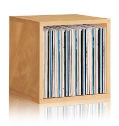 Way Basics Extra Large Stackable Lp Album Shelf Vinyl Record Storage Cube Natural