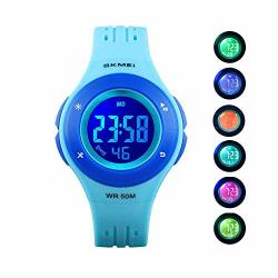 TW US Kids Digital Sport Watch Outdoor 50M Waterproof LED Multi Function Childwrist Watches Blue