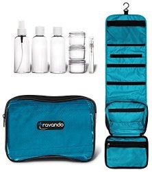 "TRAVANDO Hanging Toiletry Bag""flexi"" + 7 Tsa Approved Liquid Bottles - Travel Set For Men And Women - Toilet Kit For Cosmetics Makeup"