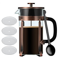 French Press Coffee tea Maker Idealhouse 34OZ 8 Cup 304 Stainless Steel Heat-resistant Borosilicate Glass Pot Cafetiere Coffee Cup Tea Filter