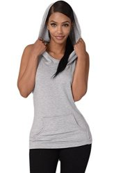 Women Vemubapis Casual Sleeveless Hoodie Backless Sports Tee Running Vest With Pockets Grey M