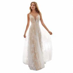 Keliay Bargain Women V-neck Off Shoulder Lace Formal Evening Party Dress Long Sleeve Dress