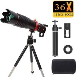 Peedeu Telescope And Cell Phone Lens 36X Zoom Telephoto Lens 4K HD Phone Camera Lens For Iphone Samsung Smartphone Bundle