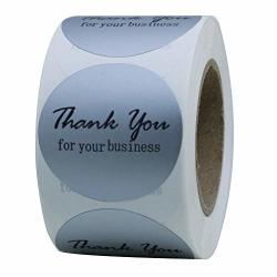 """Hybsk Thank You For Your Business Stickers Gold Foil 1.5"""" Round Total 500 Labels Per Roll Silver"""