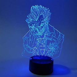 QIANDONG1 Batman Joker 3D LED Night Light Rgb Changing Visual Illusion LED Lamp Suicide Squad Action Figure Joker Novelty Light For Gift