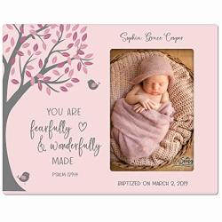 "Lifesong Milestones Personalized Baptism Photo Frame Blessing For Child 1ST Holy Communion Picture Frame 4"" X 6"" - Fearfully And Wonderfully Pink"