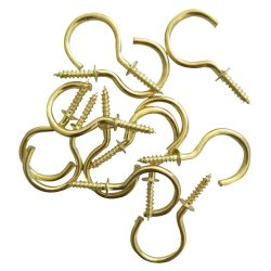 Fastener Solu - Cup Hook Round Brass Plated 19MM PK16