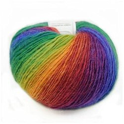 Qinghe County Cashmere Products Trade Co., LTD Celine Lin One Skein 100% Wool Colorful Rainbow Hand Knitting Yarn 50G MULTI-COLORED10