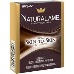 Trojan Naturalamb Premium Lubricated Natural Lamb Skin Condoms With Bonus Pocket travel CASE-3 Count Brass Travel Case