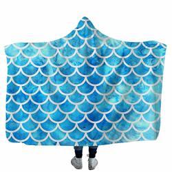 Durra & Partner Blanket Mermaid Fish Scale Design Fleece Bed Cover Blanket Adult Decorative Christmas Fleece Blanket