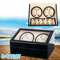 4+6 Luxury Wood Watch Display Case Automatic Motor Rotation Watch Winder Storage Display Case Box Black Usa Stock