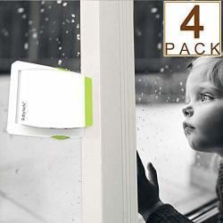PACK 4 Sliding Glass Door Locks For Child Safety Baby Proof Closets Sliding Window Locks With Strong Adhesive Tape No Screws Or Drills Easy Clean