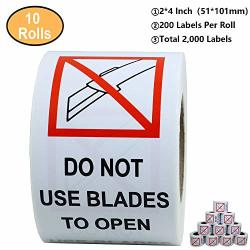 """Aleplay 2""""X4"""" Red And Black""""do Not Use Blades To Open"""" Warning Labels Stickers Total 200 Labels Per Roll 10 Rolls"""