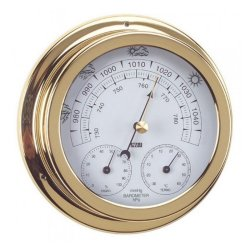 ANVI Barometer Thermometer Hygrometer-polished Brass & Lacquered-circular