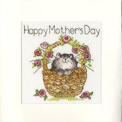 Bothy Threads Basket Of Roses Mother's Day Cross Stitch Card Kit