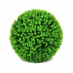 Eyourlife Artificial Grass Ball Topiary In White Ceramic Urn Realistic Home Decor