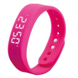 T5 Silicone Band Fitness Smart Bracelet Pedometer Distance Time & Date Calories Magenta