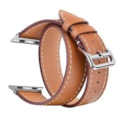 2cc8406f6cf55f V-MORO Apple Watch Bands Women Men 38MM Double Tour Genuine Leather Smart  Watch Band Replacement For Apple Watch Series 3 1 2 Sp