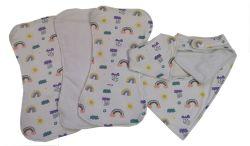 Rainbow Baby Burp Cloth And Bip Set
