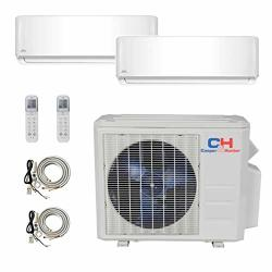 Cooper And Hunter 2 Zone MINI Split - 9000 + 12000 Ductless Air Conditioner - Pre-charged Dual Zone MINI Split - Includes Two Free