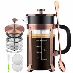 Starnuo French Press Coffee Maker 34 Ounce 1.0 Liter 18 10 Stainless Steel Heat Resistant Borosilicate Glass With 4 Level Filtration System