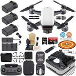 DJI Spark Drone Quadcopter Fly More Combo Alpine White With Portable Charging Station 3 Batteries Remote Controller Charger Char