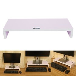 Yosoo Wooden Monitor Stand Riser LED Lcd Computer Monitor Riser Desktop Organizer Display Shelf For Computer Monitor Laptop Tv Printer White