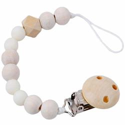 Panizusn Pacifier Clip Baby Wooden Teething Beads Toys Shower Gift Handmade Chain Dummy Safe Teether Holder Anti-drop Rope For Baby Girls Boys White