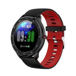 Z06 Fashion Smart Sports Watch 1.3 Inch Full Touch Screen 5 Dials Change IP67 Waterproof Support Heart Rate Blood Pressure Monitoring Sleep Monitoring Sedentary Reminder Black Red