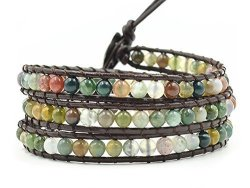 Mo Si Yi Multi-layer Braided Leather Wrap Bracelet With Multi-color 4MM Rounded Agate Beads 3 Wrap