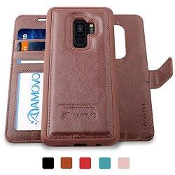 AMOVO Galaxy S9 Case 2 In 1 Samsung Galaxy S9 Wallet Case Detachable Wallet Folio Premium Vegan Leather Samsung S9 Flip Case Cover With