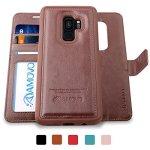 AMOVO Galaxy S9 Case 2 In 1 Samsung Galaxy S9 Wallet Case Detachable Wallet Folio Premium Vegan Leather Samsung S9 Flip Case Cov