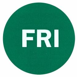 """2"""" Round Green Self-adhesive Labels Day Of The Week Color Coding Labels 500 Per Roll Fri"""
