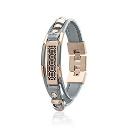 Flex 2 Jewelry - Fitbit Bracelet Hyde - Stainless Steel And Real Leather - 2 Replacement Band - Available Colors Gold Rose Gold