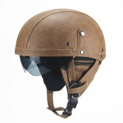 Retro Pu Motorcycle Half Helmet Open Face With Visor Motorbike Scooter Cruise Safety - Light Brown