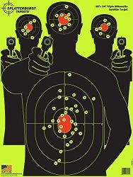 Splatterburst Targets - 18 X 24 Inch - Triple Silhouette Reactive Shooting Target - Shots Burst Bright Fluorescent Yellow Upon I