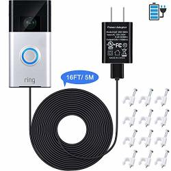 Power Adapter And 16 Ft 5 M Charge Cable Compatible With Ring Video Doorbell 1 To Continuously Power Your Doorbell Power Supply Adapter Charger For Ring Doorbell 1